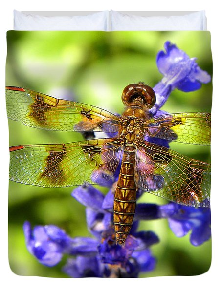 Duvet Cover featuring the photograph Dragonfly by Sandi OReilly