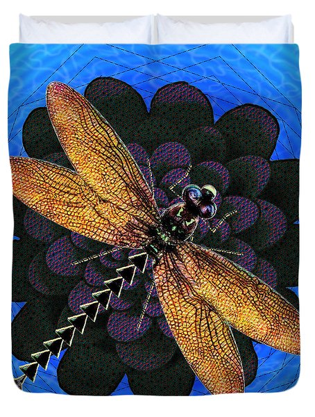 Dragonfly Snookum Duvet Cover by Iowan Stone-Flowers
