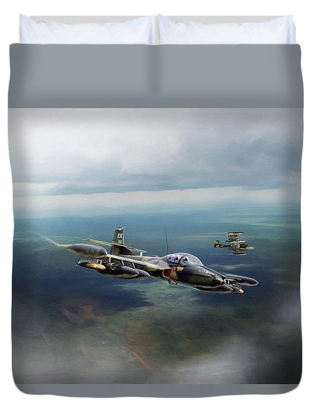 Duvet Cover featuring the digital art Dragonfly Special Operations by Peter Chilelli