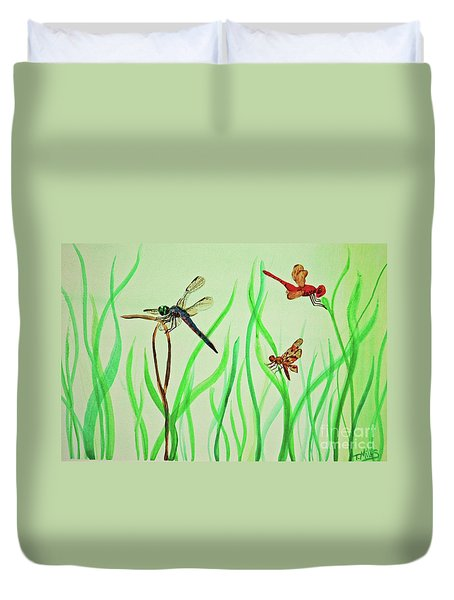 Duvet Cover featuring the painting Dragonfly Trio by Terri Mills
