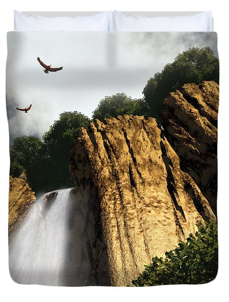 Duvet Cover featuring the digital art Dragons Den Canyon by Richard Rizzo