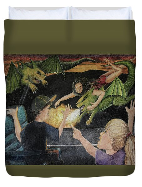 Dragons From The Train Duvet Cover