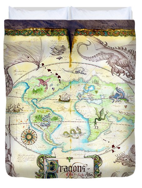 Dragons Of The World Duvet Cover by The Dragon Chronicles - Garry Wa
