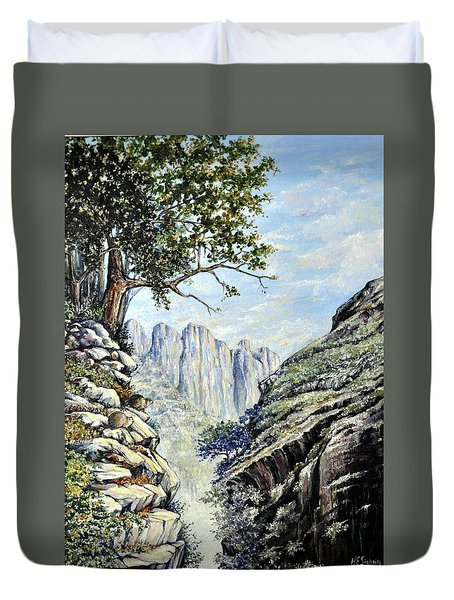 Duvet Cover featuring the painting Drakensberg by Heidi Kriel