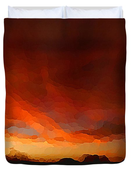 Duvet Cover featuring the digital art Drama At Sunrise by Shelli Fitzpatrick