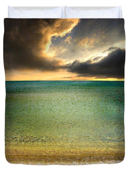 Drama At The Beach Duvet Cover by Meirion Matthias