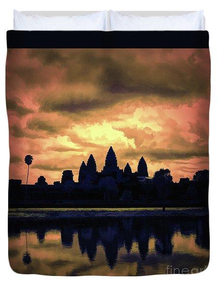 Dramatic Angkor Wat  Duvet Cover