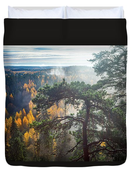 Dramatic Autumn Forest With Trees On Foreground Duvet Cover