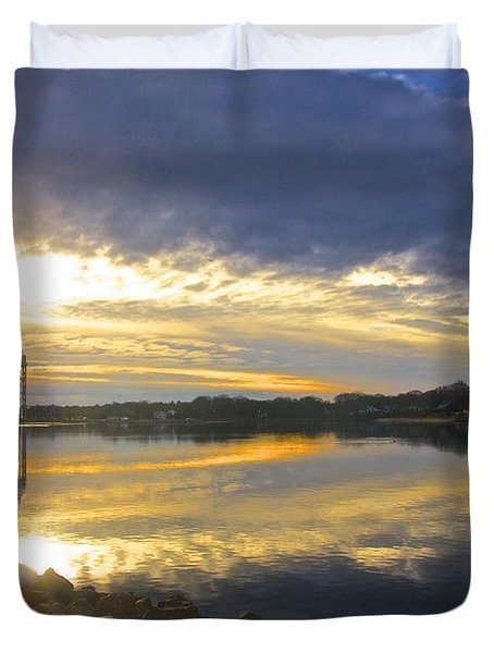 Dramatic Cape Cod Canal Sunrise Duvet Cover