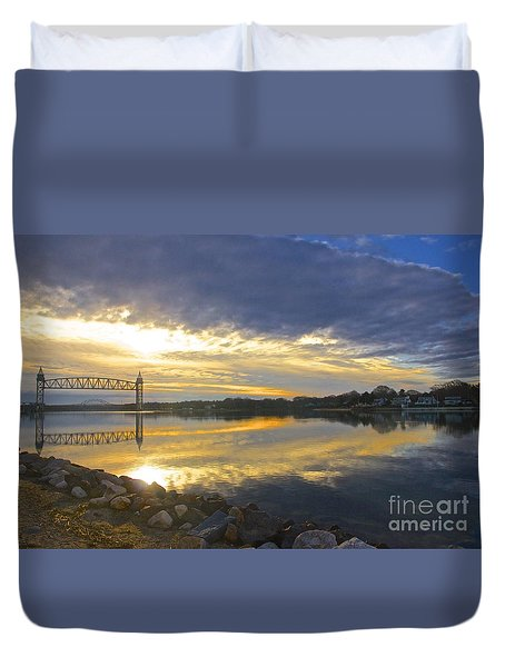 Dramatic Cape Cod Canal Sunrise Duvet Cover by Amazing Jules