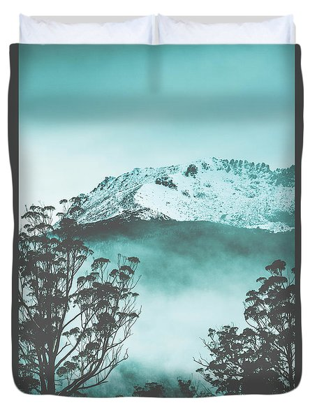 Dramatic Dark Blue Mountain With Snow And Fog Duvet Cover