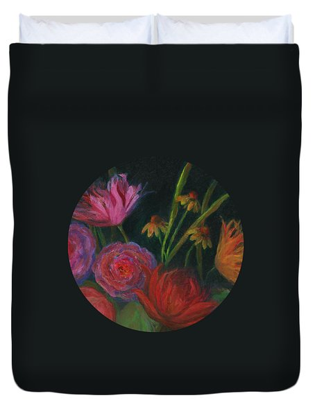 Dramatic Floral Still Life Painting Duvet Cover