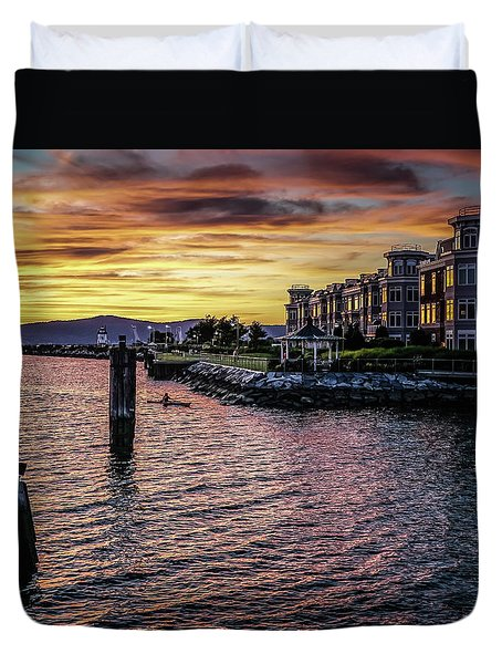 Dramatic Hudson River Sunset Duvet Cover by Jeffrey Friedkin