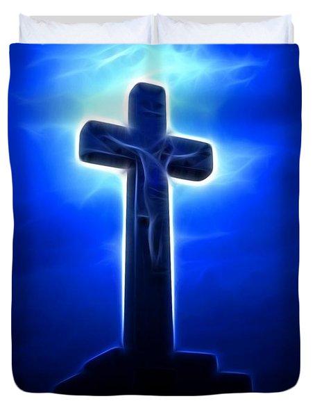 Dramatic Jesus Crucifixion Duvet Cover by Pamela Johnson