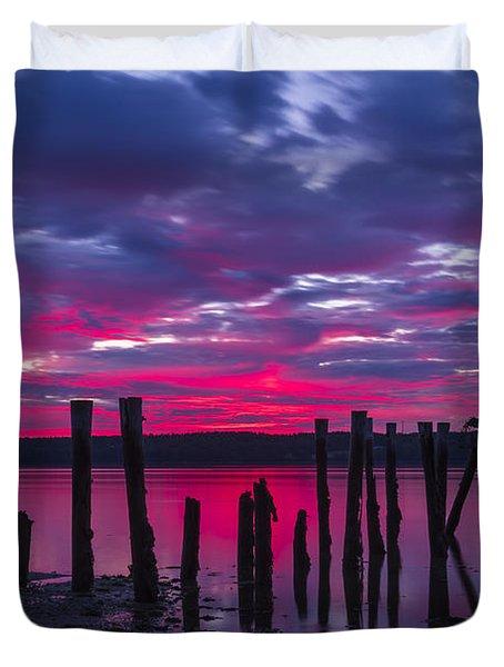 Dramatic Maine Sunrise Duvet Cover