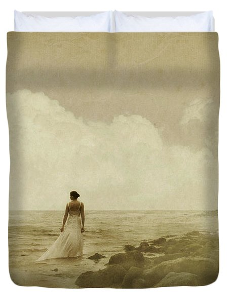 Dramatic Seascape And Woman Duvet Cover