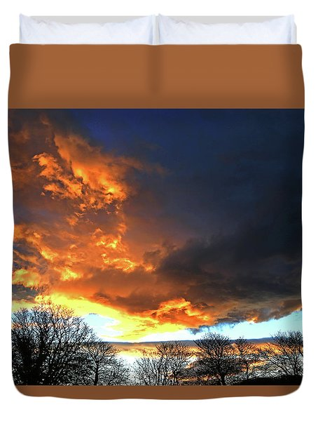 Dramatic Sky With Filigree Trees. Duvet Cover