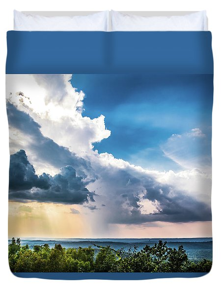 Duvet Cover featuring the photograph Dramatic Sunrays Over The Valley by Shelby Young