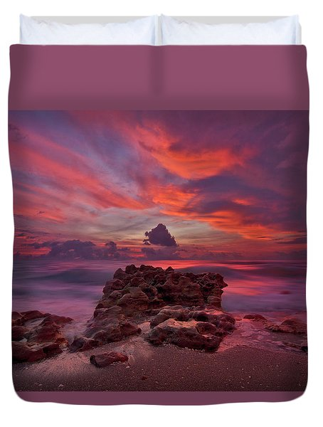 Dramatic Sunrise Over Coral Cove Beach In Jupiter Florida Duvet Cover by Justin Kelefas