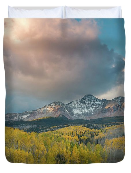 Dramatic Sunrise Over Wilson Peak Duvet Cover