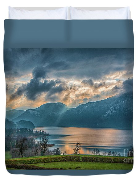 Dramatic Sunset Over Mondsee, Upper Austria Duvet Cover