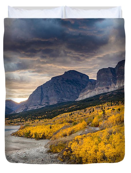 Dramatic Sunset Sky In Autumn  Duvet Cover