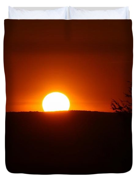 Dramatic Sunset View From Mount Tom Duvet Cover