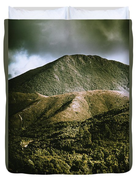 Dramatic View On Mount Zeehan Against Stormy Cloud Duvet Cover