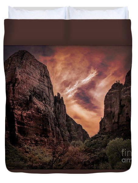 Dramatic Zion National Park Utah  Duvet Cover
