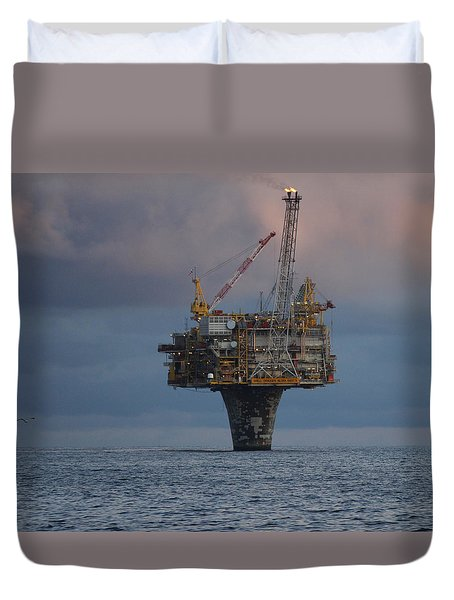 Duvet Cover featuring the photograph Draugen Platform by Charle Morrison