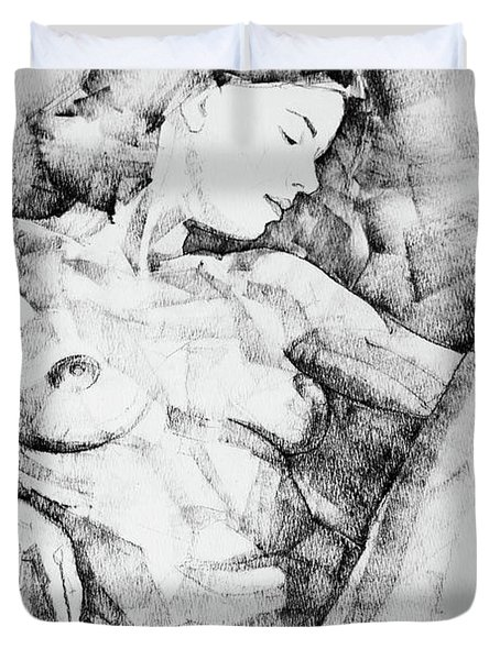 Drawing Beautiful Girl Figure Duvet Cover