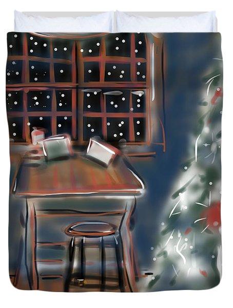Drawing Board At Christmas Duvet Cover