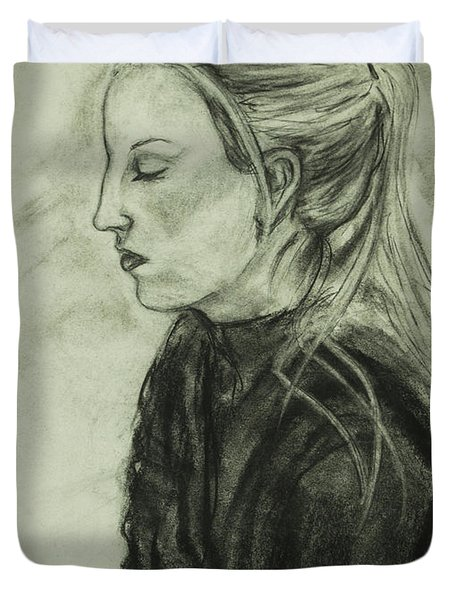 Drawing Of An Artist Duvet Cover