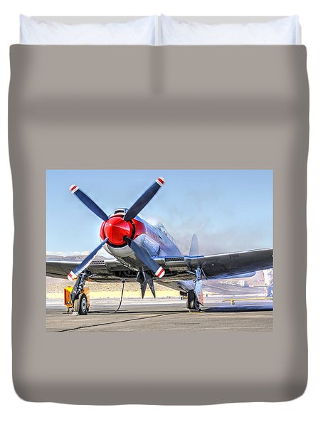 Duvet Cover featuring the photograph Dreadnaught Engine Start Sunday Gold Unlimited Reno Air Races by John King