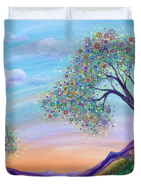 Duvet Cover featuring the painting Dream Big by Tanielle Childers