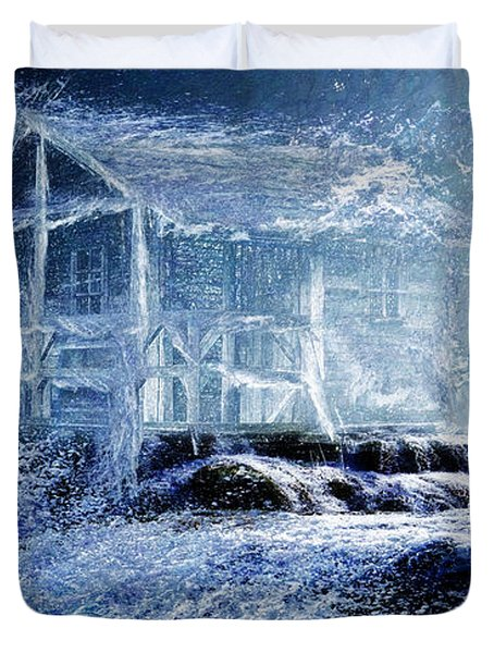 Duvet Cover featuring the painting Dream Cabin  by Michael Cleere