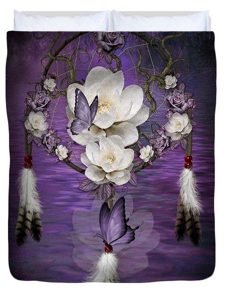 Dream Catcher Purple Flowers Duvet Cover