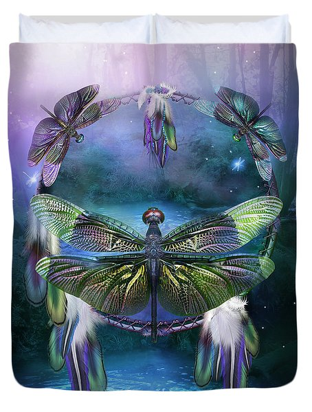 Dream Catcher - Spirit Of The Dragonfly Duvet Cover