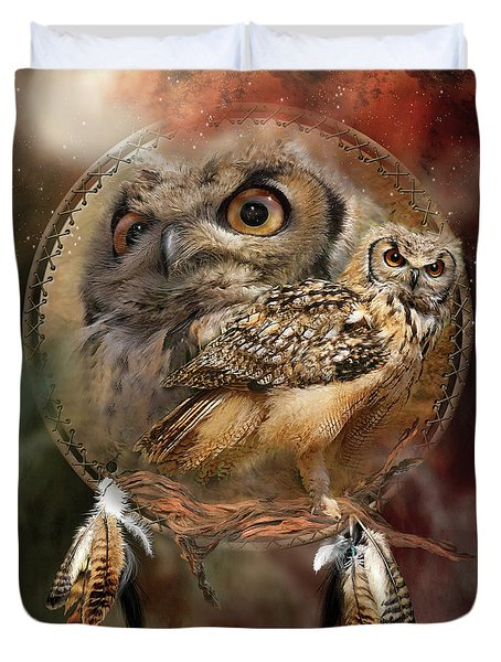 Duvet Cover featuring the mixed media Dream Catcher - Spirit Of The Owl by Carol Cavalaris