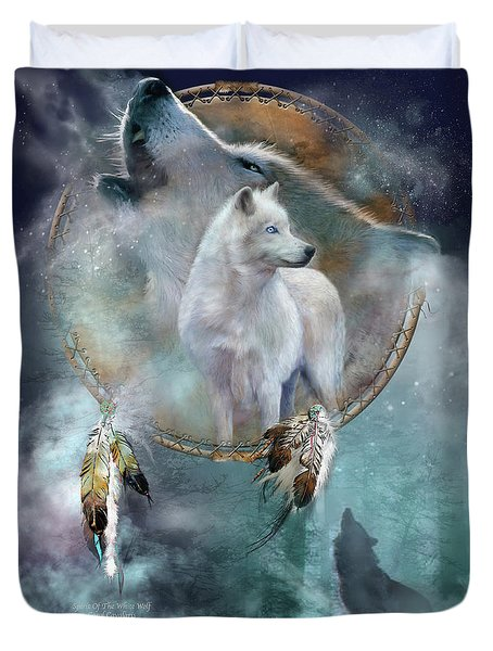Dream Catcher - Spirit Of The White Wolf Duvet Cover