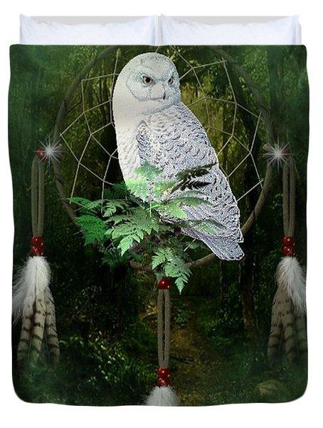 Dream Catcher White Owl Duvet Cover