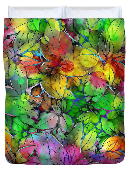 Duvet Cover featuring the digital art Dream Colored Leaves by Klara Acel