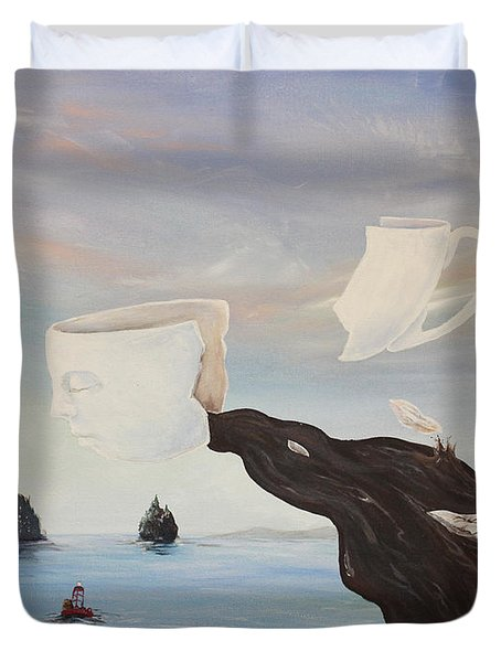 Duvet Cover featuring the painting Dream Commute by James  Andrews