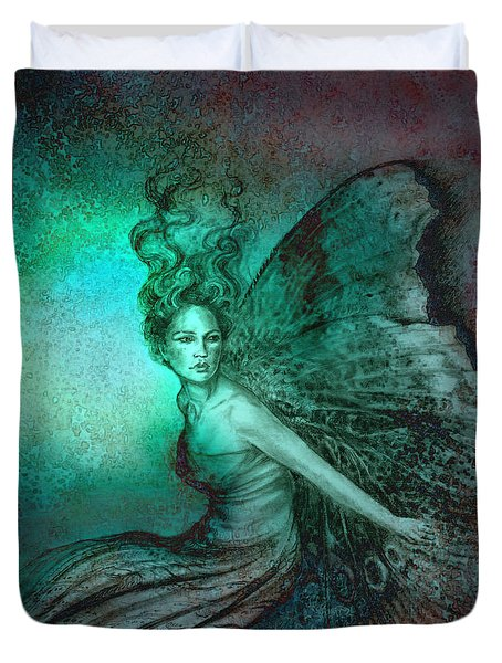 Duvet Cover featuring the painting Dream Fairy by Ragen Mendenhall