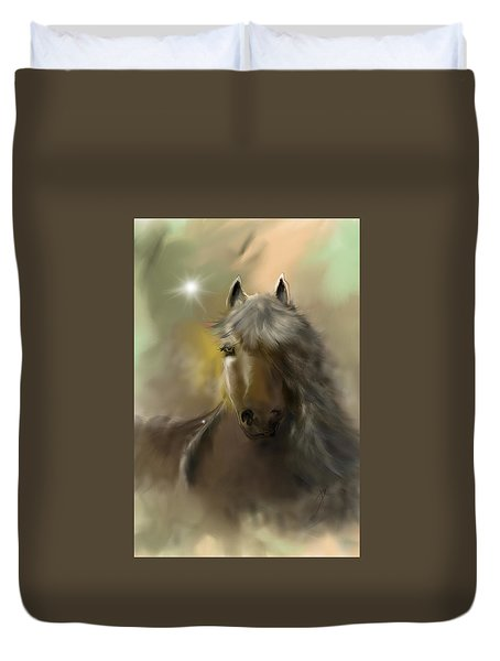 Duvet Cover featuring the digital art Dream Horse by Darren Cannell