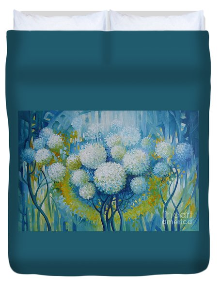 Duvet Cover featuring the painting Dream Land by Elena Oleniuc