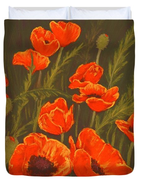 Duvet Cover featuring the painting Dream Of Poppies by Anastasiya Malakhova