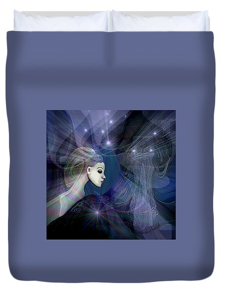 Duvet Cover featuring the digital art 1101 - Dream Voyage - 2017 by Irmgard Schoendorf Welch