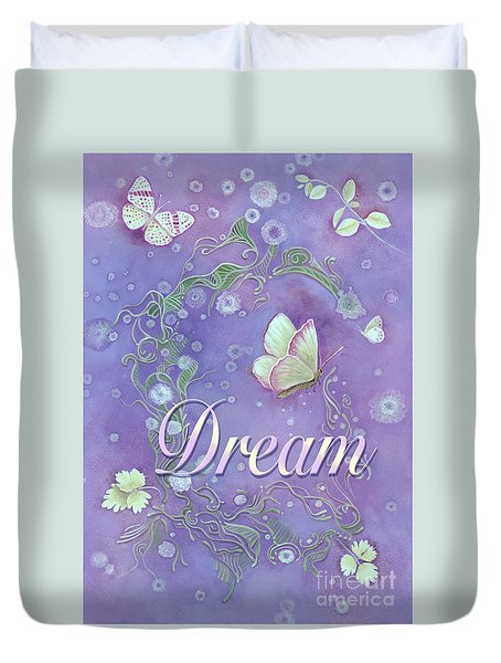 Duvet Cover featuring the painting Dream With Periwinkle Butterfly Scrolls by Nancy Lee Moran