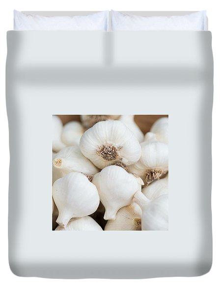 Garlic At The Farmers' Market Duvet Cover